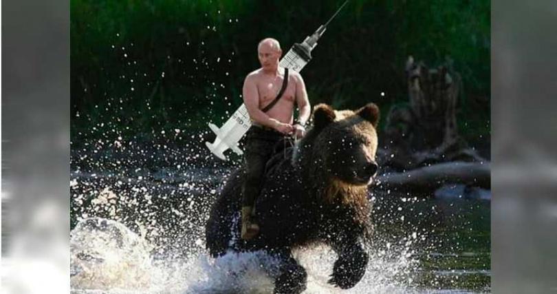 俄羅斯總統普丁曾在臉書PO出自己騎黑熊的惡搞迷因圖。(圖/翻攝自臉書/Vladimir Putin)
