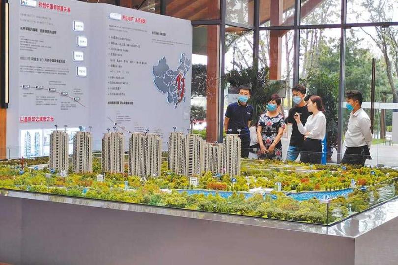 河北石家莊的新建案舉辦銷售活動。(圖/翻攝自中新社)