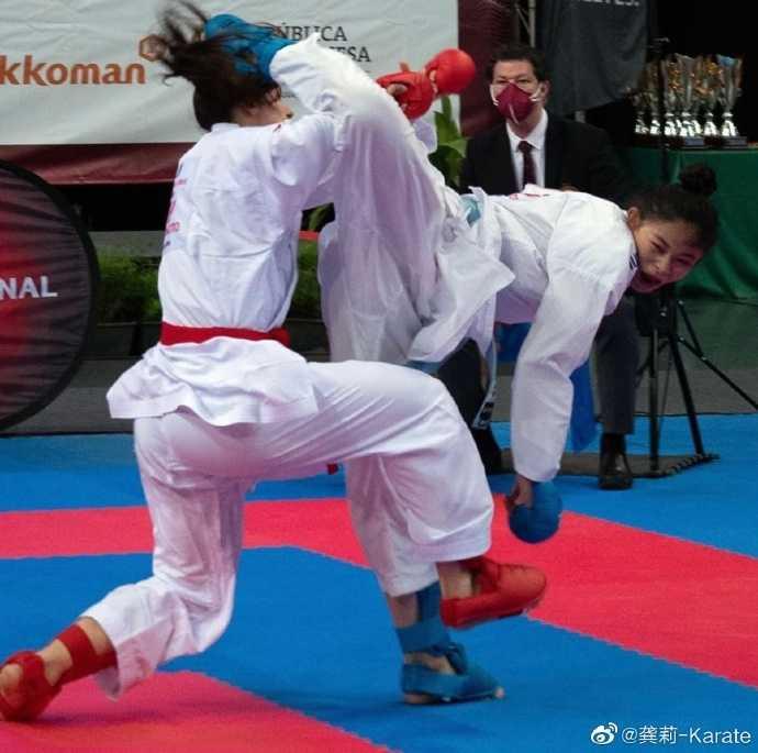中國大陸空手道好手龔莉一上賽場便會展現驚人的奮鬥精神。(圖/翻攝自龔莉-karate微博)