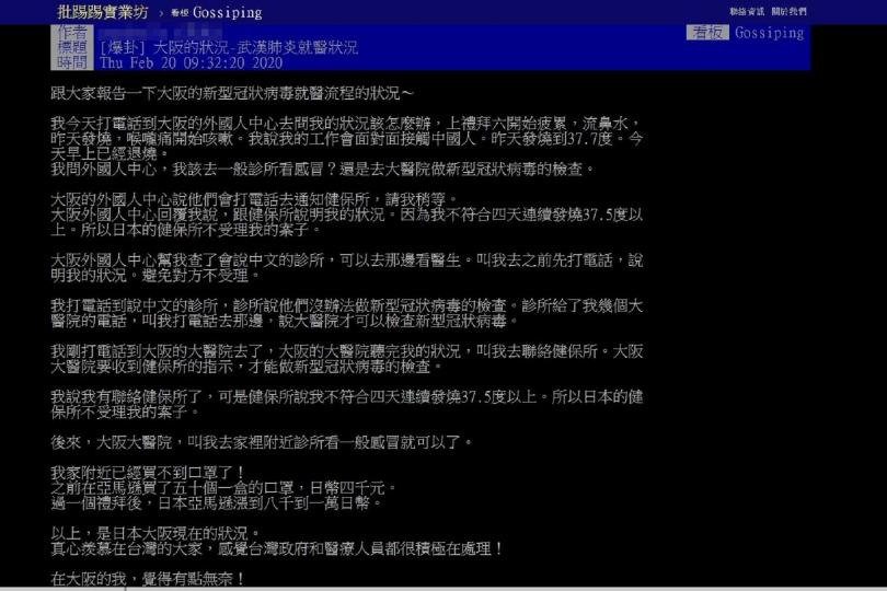 原PO在PTT的發文,引起網友熱烈討論。(圖/PTT)