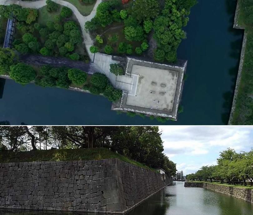 古蹟的護城河成「抹茶奶綠」的景象也嚇壞不少人。(圖/翻攝自KyotoiitokoVideo、永太郎(ながたろう)推特)