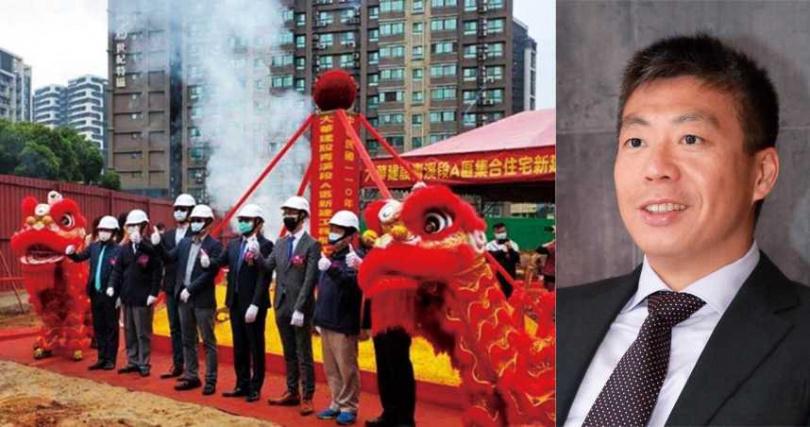 寶佳集團少東林家宏(右)取得大華建設經營權,最大推手即是吳珅篁。圖為大華建設今年3月在桃園青埔的新案開工。(圖/寶佳提供)