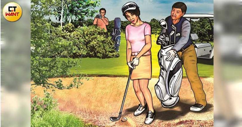 王頌寧與張月麗在高爾夫球聚會上相識,還共赴葡萄牙甜蜜約會,晚上還同住一房。(圖/本刊繪圖組)