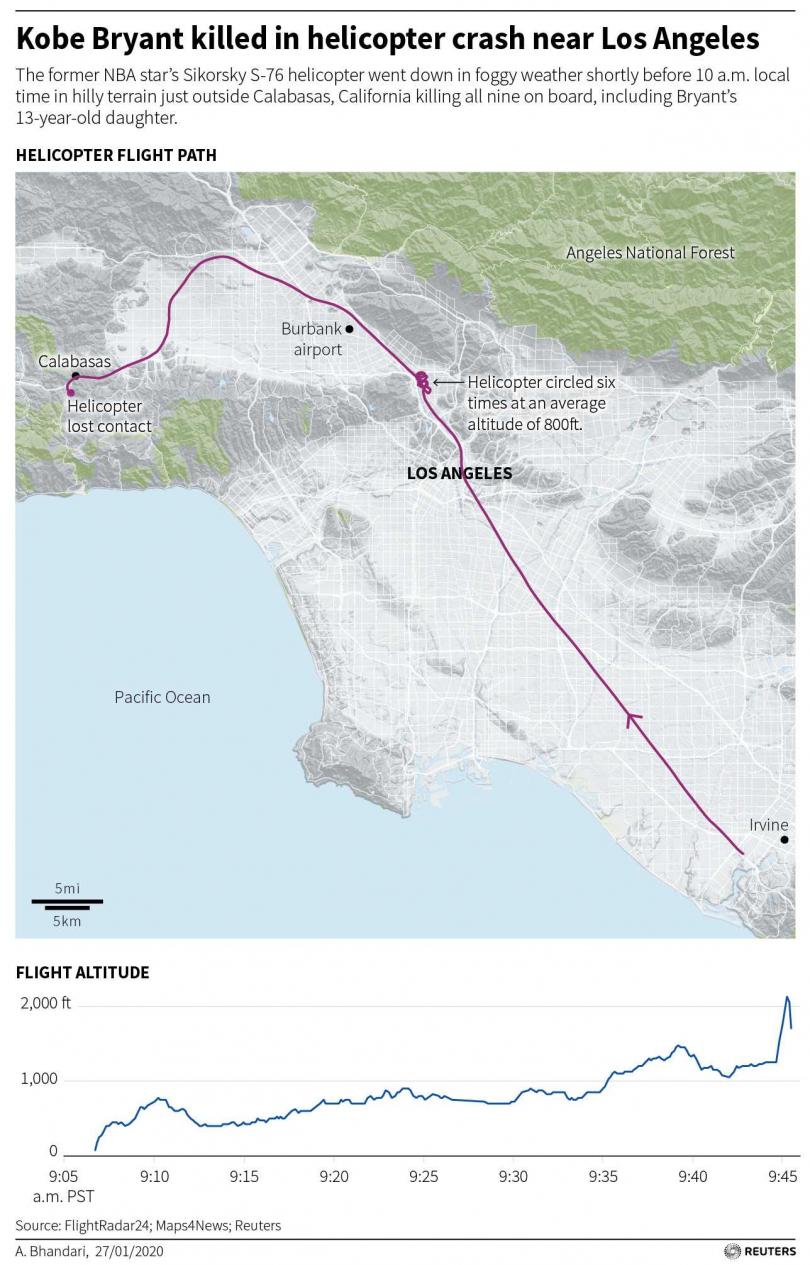 布萊恩直升機軌跡,最後位置是在山區。(圖/路透)