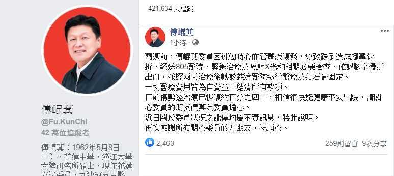 傅崐萁官方臉書今下午貼文證實受傷一事,還寫道傷勢已恢復4成,要支持者不要擔心。 (圖/崐萁官方臉書)