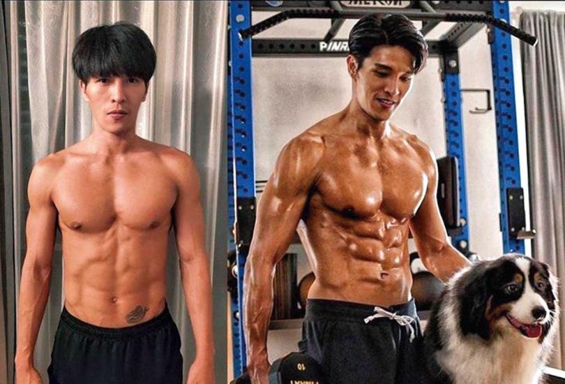 當模特兒後,陳禕倫開始注重身材,拍戲後更常為角色健身,練到極為精壯,多年來外型變化很大。(圖/翻攝自陳禕倫IG)