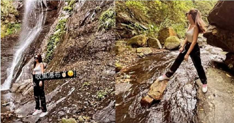 昆凌今穿背心到溪邊玩。(圖/翻攝自昆凌IG)