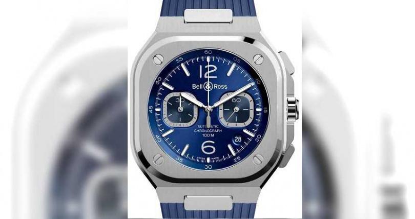 Bell & Ross「BR05」系列Chrono Blue Steel計時腕錶╱精鋼錶殼,橡膠錶帶,深藍色錶面,BR 302型自動上鏈機芯,42mm╱192,000元。(圖╱Bell & Ross提供)