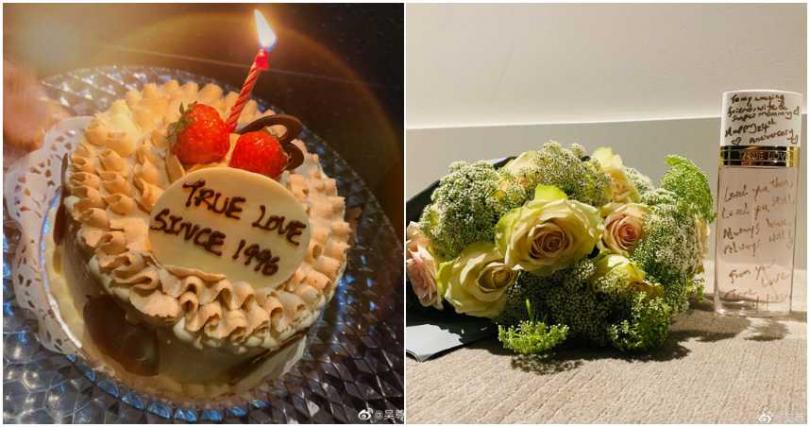 吳尊貼出蛋糕、鮮花和禮物照片。(合成圖/吳尊微博)