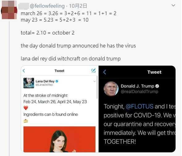 有網友將拉娜過往在推特發布的日期相加,竟得出川普染疫的日期。(圖/feIlowfeelingTwitte)
