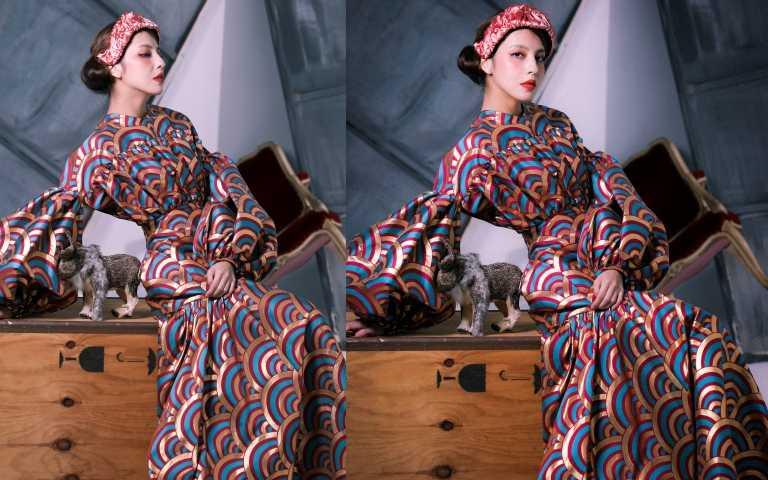LOEWE彩虹緹花洋裝/ 未定價、FENDI緞面造型髮髻/19,800元(圖/戴世平攝影)