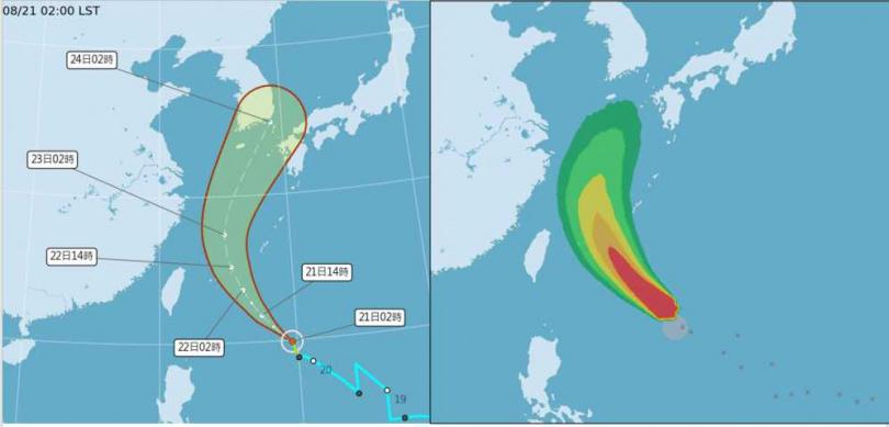 中央氣象局今(21日)2時「路徑潛勢預測圖」(左)及「暴風圈侵襲機率圖」(右)皆顯示,「奧麥斯」在台灣東南方海面,向西北進行,將在琉球附近大迴轉,通過台灣鄰近海域的機率低。(圖/翻攝自「三立準氣象· 老大洩天機」專欄)