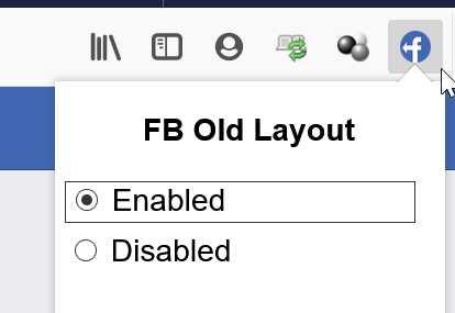 如果你想要臨時切換成新版介面的話,只需要到瀏覽器右上角,找到old Facebook Layout的圖示,點選「Disabled」就可以暫時停止外掛的運作,如果要恢復的話,點選Enabled就可以囉。