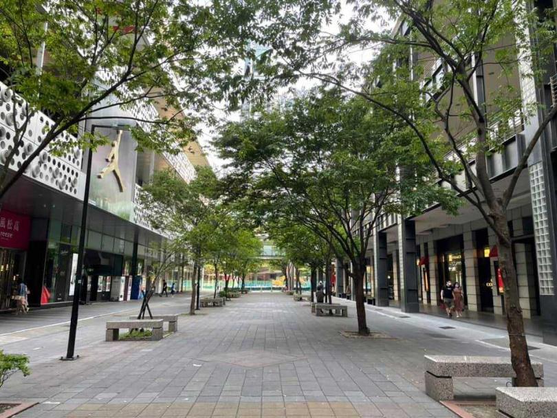 以往假日繁華熱鬧的信義區,如今只剩下零星民眾走在街上。(圖/翻攝自臉書/信義區三兩事)