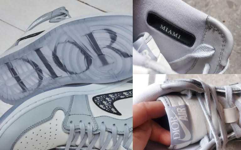 Air Jordan 1 High OG Dior的鞋底上鐳射雕刻了Dior圖案,前面也繡上DIOR AIR,更有MIAMI邁阿密的標籤,讓粉絲們尖叫!(圖/品牌提供)