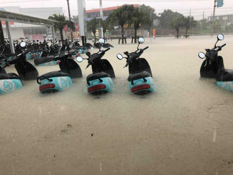 石垣島昨下大雨,大批Gogoro2成泡水車。(圖/翻自石垣島租車- GO SHARE粉絲團)