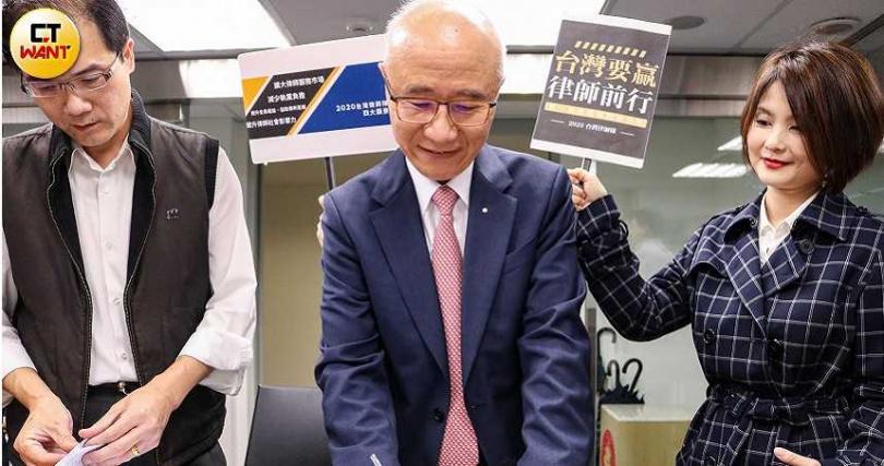 陳彥希律師和台灣律師隊成員登記參選。(攝影/李蕙璇)