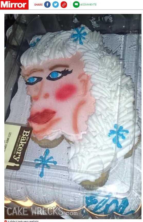 網友訂製「冰雪奇緣」中艾莎公主的造型蛋糕,卻因成品差太多崩潰。(圖/翻攝自鏡報)