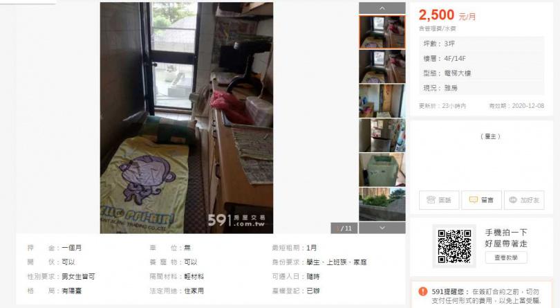 網友在租屋網看到一間奇葩租屋。(圖/翻攝自591租屋網)