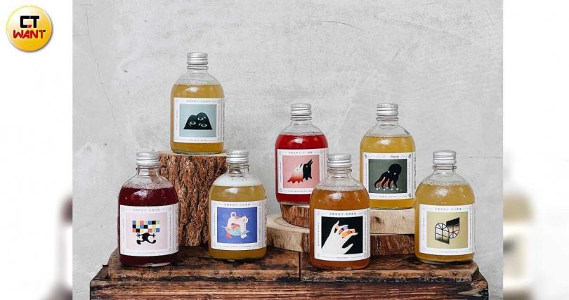 腴釀成立至今推出過9款口味,是台灣瓶裝康普茶中做過最多風味的品牌。(圖/于魯光攝影)