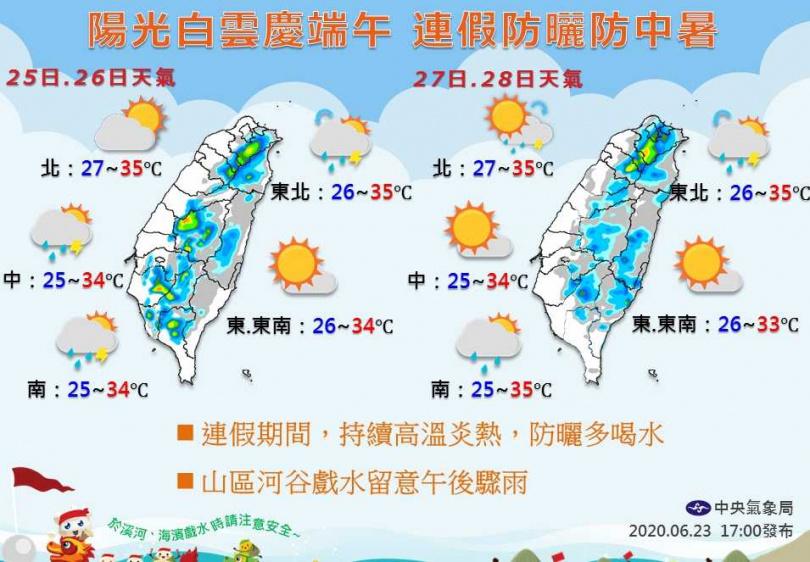 端午連假天氣概況出爐。(圖/翻攝自中央氣象局)
