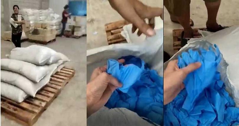 精準生技販售的醫療用手套竟用麻袋包裝,品質明顯不符樂立杯要求,且精準生技還拒退訂金。(圖/讀者提供)