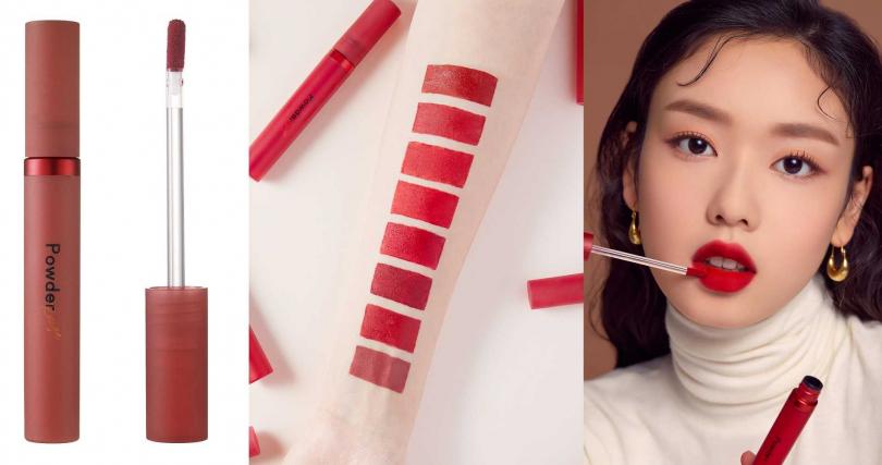 ETUDE HOUSE誘吻任霧蜜唇粉 2.7g/450元  這個系列是以不同冷暖色調的紅色為色選,喜愛紅唇的女孩一定要親自來試色看看!(圖/品牌提供)