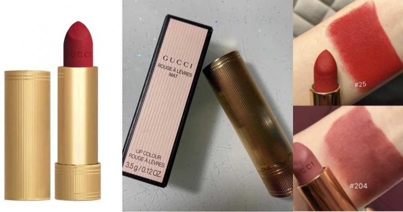 GUCCI絨霧唇膏/1,300元  就連外包裝也是很有精品質感的金色螺紋設計,拿它出來補妝好神氣。(圖/品牌提供、翻攝網路)