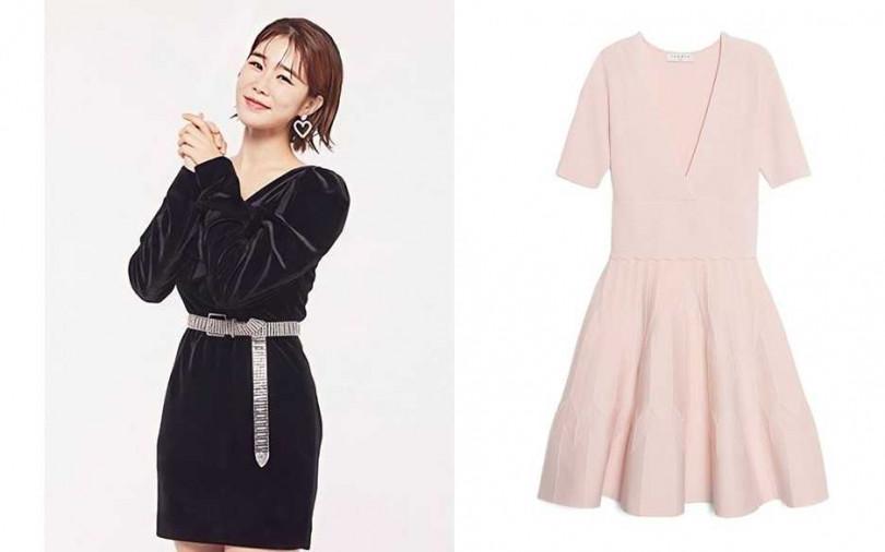 Sandro粉色V領洋裝/價格未定(圖/翻攝網路、品牌提供)