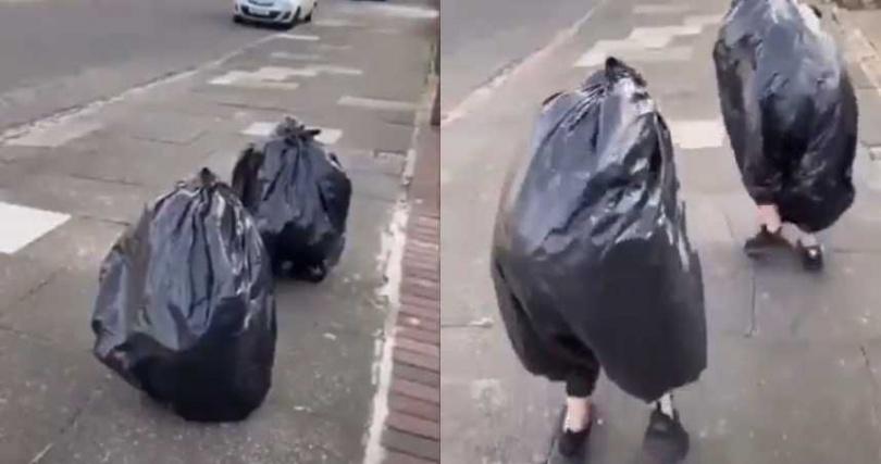 民眾套上垃圾袋偽裝。(圖/翻攝自推特@diabetes_sw)