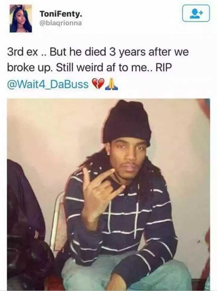 女子連交4名男友分手後4人全死了。(圖/@Blaqrionna Twitter)