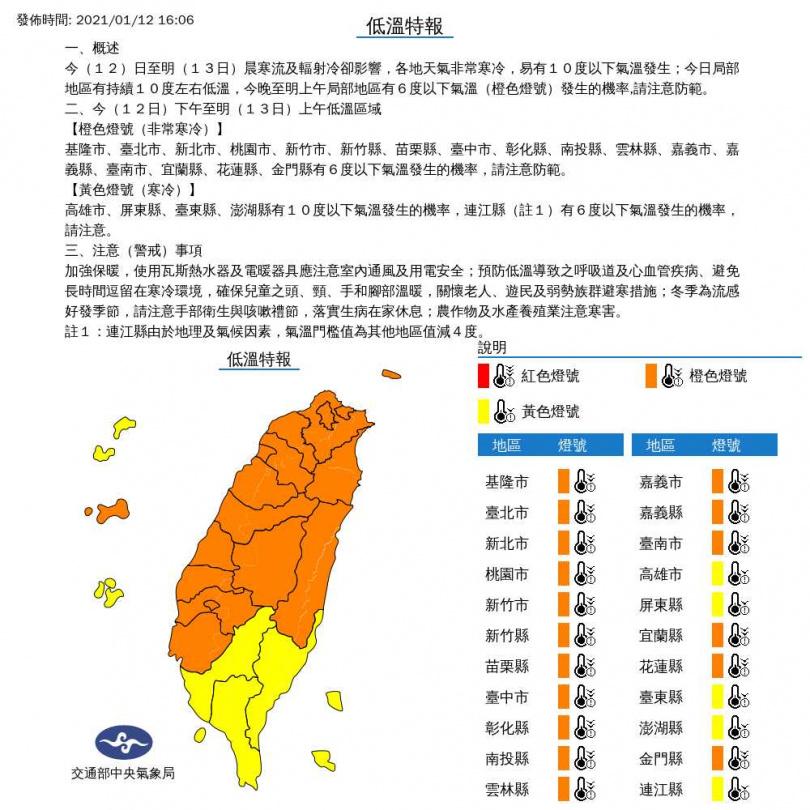 氣象局針對22縣市發布低溫特報。(圖/中央氣象局)