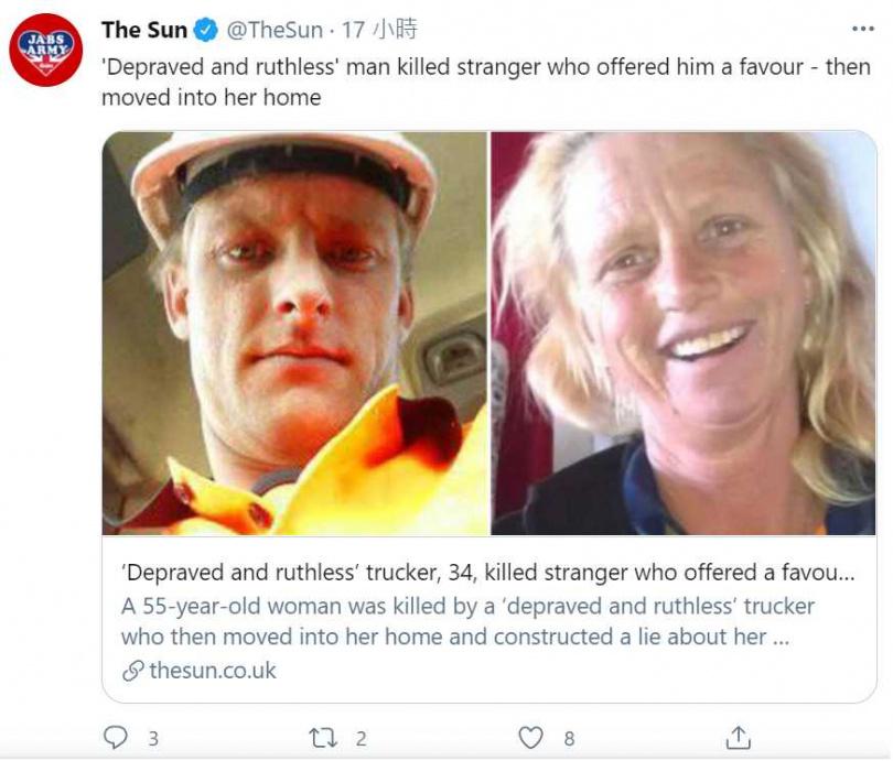 34歲卡車司機馬修(Mathew Hemsley)殺人棄屍後,縱火燒掉露營車,湮滅證據。(圖/翻攝自The Sun推特)
