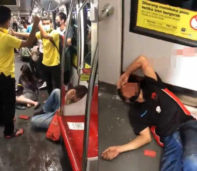 吉隆坡24晚間發生兩輛輕鐵列車相撞事故,車內多名乘客受傷。(圖/翻攝自KL_Reporter Twitter)