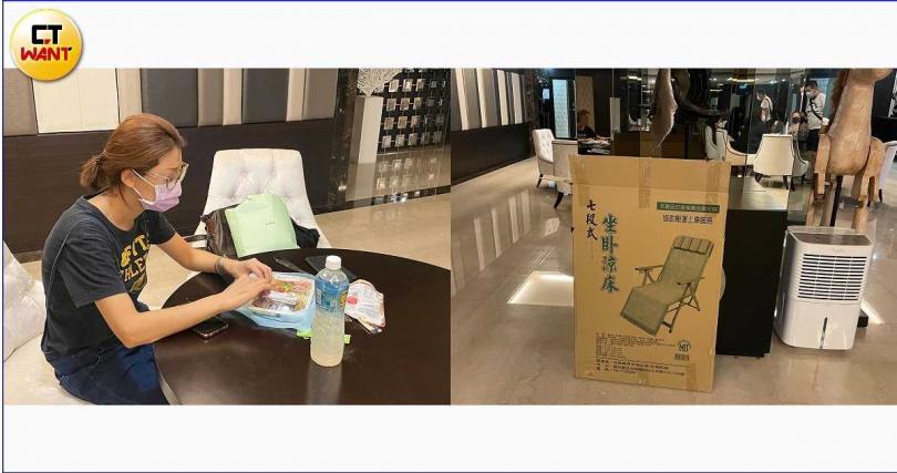 租客尹小姐才搬進來第2個月就碰到大停電,因租屋處太熱,只好去買躺椅睡在3樓的公設空間。(圖/張心攝)