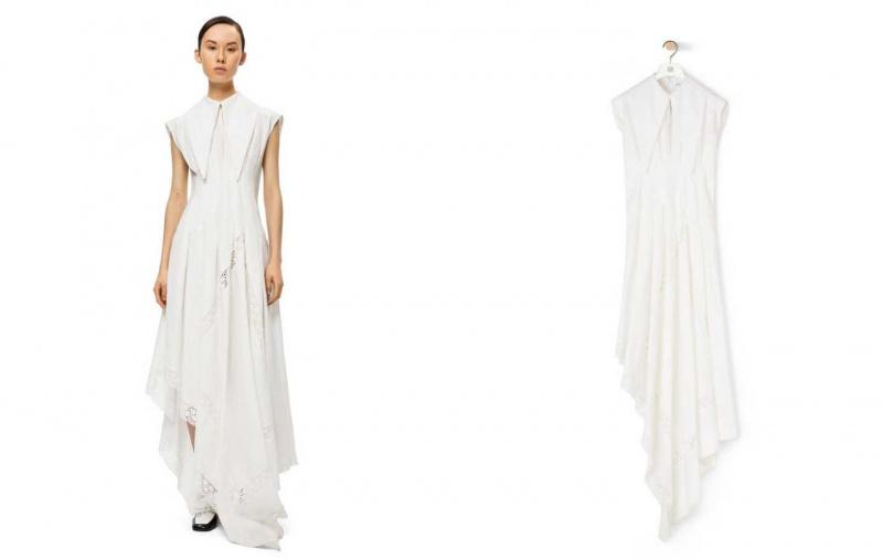不規則且拼接透膚的裙擺,讓浪漫感隨之而生。LOEWE Oversize 領片透膚拼接洋裝/88,000元(圖/品牌提供)