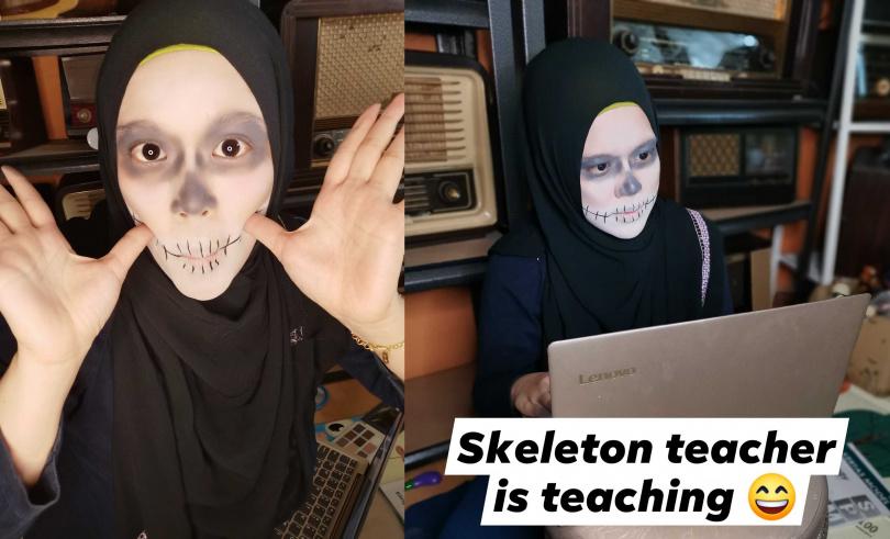 生物教師化骷髏妝,意外獲得學生好評。(圖/翻攝自Intan Rohaillah臉書)