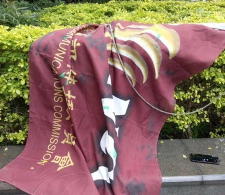 NCC旗幟遭扯下,上頭還有田男潑的油漆。(圖/翻攝畫面)