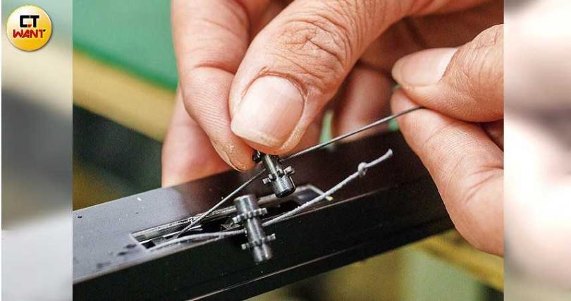 一個棘輪控制一條線,是摺紗平衡的機關。(圖/宋岱融攝)