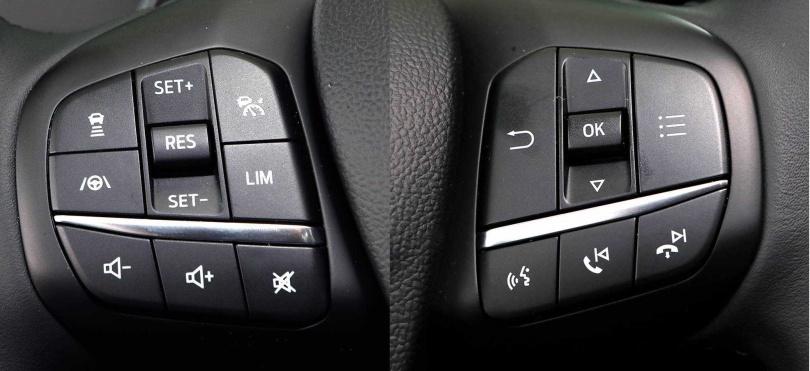 語音聲控、通話、定速等常用功能按鍵,整合於方向盤兩側,操作方便就手。(圖/王永泰攝)