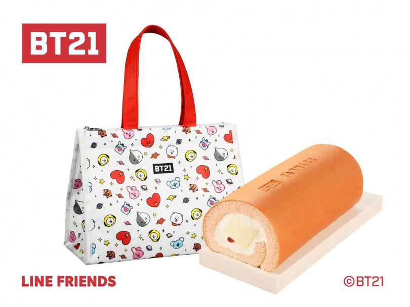 草莓多多生乳捲與BT21保冷袋。(圖/亞尼克果子工房提供)