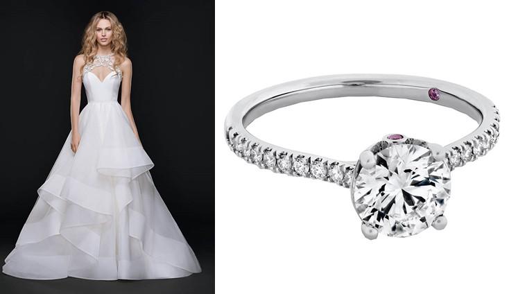 Sloane系列婚紗手稿,整體設計偏向經典簡約風格。(右)Sloane Silhouette戒指,定價:依主鑽大小,價格未定。