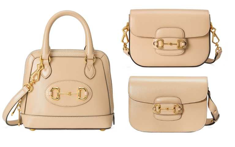 GUCCI Horsebit 1955 奶茶色手提包/73,800元、奶茶色迷你肩背包/92,400元、奶茶色肩背包/92,300元。(圖/品牌提供)