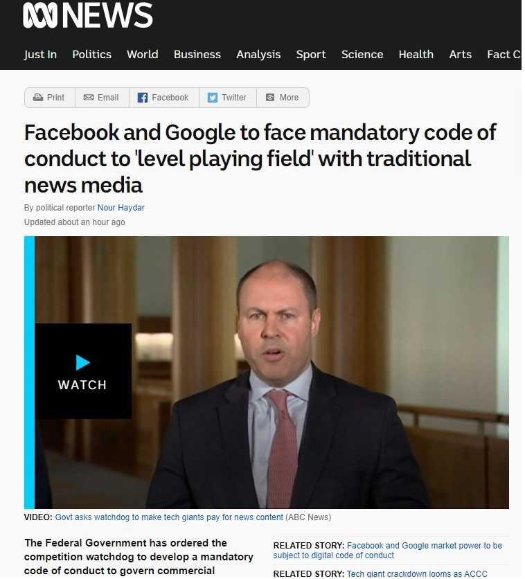 澳洲財長佛瑞登伯格稱,澳洲會在7月底提出相關草案,規範使用新聞內容的網路平台付費給相關媒體。(圖/澳洲Abc News)