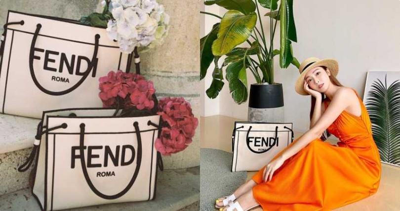 FENDI ROMA SHOPPER包款採用織物製作,讓包款輕盈並帶有休閒度假風格。FENDI ROMASHOPPER包款,大型尺寸,68,000元。(圖/翻攝潔西卡IG/jessica.syj)