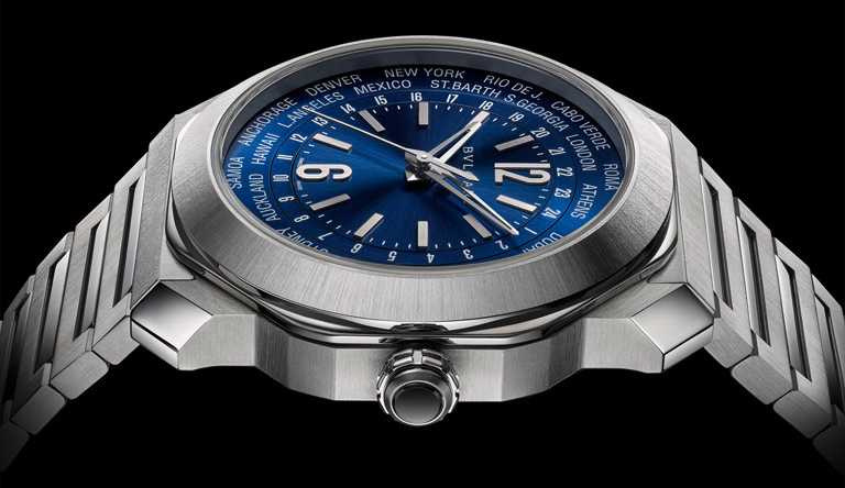 BVLGARI「Octo Roma WorldTimer」世界時區腕錶,41mm,904L精鋼錶殼,BVL257型自動上鏈機芯,緞面拋光鋼製錶帶╱261,500元。(圖╱BVLGARI提供)