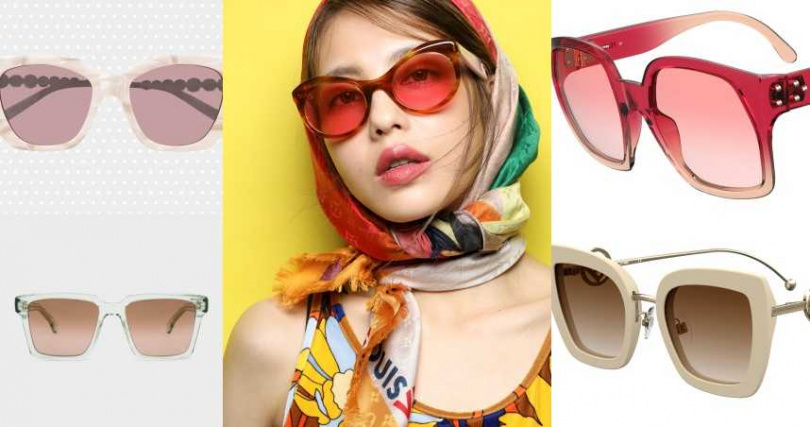 本季太陽眼鏡推薦:(中)MODEL LOOK:LOUIS VUITTON FACES大方巾/29,400元;LOUIS VUITTON太陽眼鏡/15,100元;FENDI花色泳衣/價格未定(左上)GUCCI 復古貓眼造型太陽眼鏡/19,300元(左下)PAUL&SMITH太陽眼鏡/價格店洽,(右上)FENDI Dawn Butterfly 太陽眼鏡/11,750元;(右下)FENDI F is FENDI 太陽眼鏡/13,920元。(圖/品牌提供)