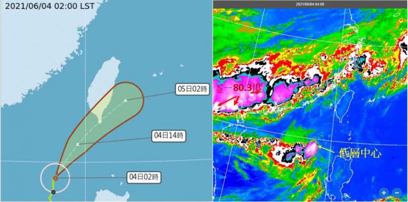 最新(4日2時)中央氣象局「路徑潛勢預測圖」(左)顯示,第3號輕度颱風「彩雲」,即將進入巴士海峽、轉向東北,今晚將切過恆春半島,有減弱的趨勢。4時紅外線雲圖(右)顯示,厚實雲層皆在颱風環流左側;華南梅雨鋒帶上的對流發展旺盛,已衝破對流層頂(雲頂≦-80.3度)。(圖/翻攝自「三立準氣象· 老大洩天機」專欄)