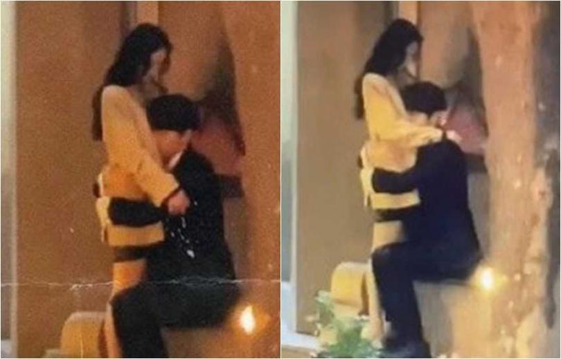 楊冪與許凱在大街上對戲緊擁,男方頭部剛好落在她的火辣D罩杯胸部上。(圖/翻攝自微博)