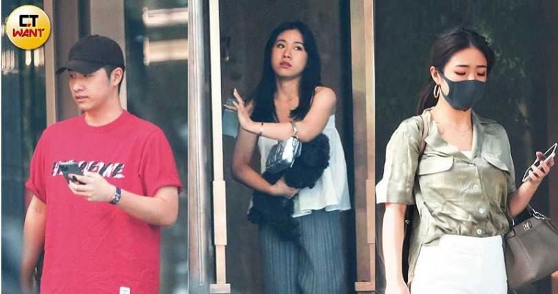 (右)吳則含、(中)吳奕佳和(左)鹿希派姊弟3人,先後從家裡出發,準備幫吳宗憲慶祝父親節。(圖/本刊攝影組)